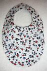 BABY BIBS~PATRIOTIC~4TH Of JULY~STARS~Lined~Reversible~Washable~Hidden Snap~NEW