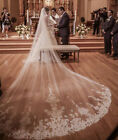HOT white/ivory 4M Cathedral Lace applique Wedding Bridal Long Bridal Veil+ Comb