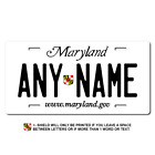 Personalized Maryland License Plate for Bicycles, Kid's Bikes & Cars Ver 1
