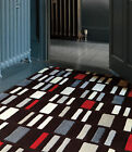 Modern Rug Contemporary Pattern Blocks Red Black Grey Rectangle