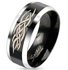 Men Womens Classic Band Stainless Steel Duo Tone Black Tribal Inlay Band Ring