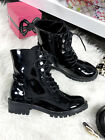 New Ladies Black Ankle Boots Low Heel Faux  Suede Lace Studs Spikes Biker Size