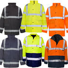 HI VIZ Two 2 Tone Parka Jacket Visibility Security Work Waterproof Coat Hi Vis