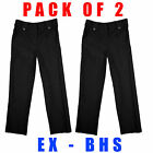 Girls PACK OF 2 School Trousers Two Pocket Uniform Fashion Black 4 to 13 Years