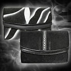 Geunine Stingray Ladies Leather Trifold Wallet Row Stone and Wave Pattern