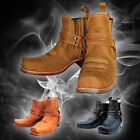 Mens Leather shorty Biker Boots