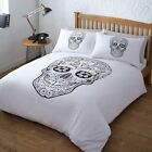 DAY OF THE DEAD SKULL GOTHIC BEDDING QUILT DUVET COVER BEDDING SET WHITE BLACK