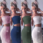 2pcs/set Womens Fashion Suede Lace Up Off Shoulder Top + Skirt Set Pocket Dress