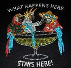 WHAT HAPPENS HERE STAYS HERE Rhinestone crystal tee shirt -PLS SIZE -FrE Ship