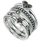 925 Silver Rings 4 Stack Assorted Rings with Marcasite Silver Ring R2748