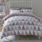 Scandi Geo Triangles Striped Duvet Cover & Pillowcases, Grey Blush Dusky Pink