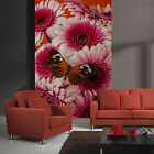 3d Red Flowers Butterfly 1397 Wallpaper Decal Decor Home Kids Nursery Mural Home