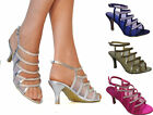 WOMENS LOW MID KITTEN HEEL DIAMANTE DETAIL STRAPPY PEEP TOE EVENING PARTY SHOES