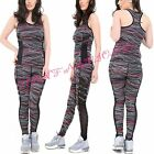Womens Ladies Gym Wear Sparkle Stripe Mesh Racer Back Vest Top Sport Legging Set