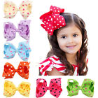 4.5 Inch Baby Hair Bows Bowknot Dot Girls Boutique With Clips Headwear