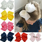 6 Inch Large Girls Double Layers Baby Hair Bows Grosgrain Ribbon Clips Boutique