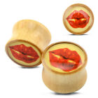RED LIPS WOODEN EAR PLUGS Piercing Jewellery Stretchers Tunnels TIMBER PL129