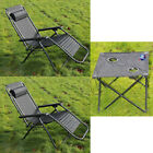 3 Piece Garden Furniture Set Outdoor Reclining Lounger Chairs & Folding Table Su