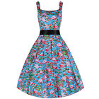 Blue Pink Flamingo Strappy 50s Rockabilly Summer Party Prom Cotton Swing Dress