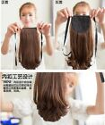 Women Girl's Lace up Ponytail Long Curly Wavy Hairpiece Hair Extensions Clip In