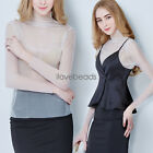 White Ladies Sexy Gauze Voile Transparent Short Womens Long Sleeve Tops Blouse