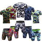 Men's Compression Sports Outfits Shorts and T shirts Workout Camo Sportswear
