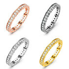 925 Sterling Silver Radiant Crystal Engagement Wedding Band Ring Women Jewelry