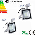 50W 100W PIR Sensor Motion LED Floodlight Security Cool White Garden Lamp UK CE