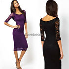 New Womens Lace Dress 3/4 Sleeve Pencil Wrap Elegant Midi Bodycon Party Dresses