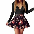 Fashion Women V-neck Bodycon Party Flower Prom Party Club Cocktail Mini Dress