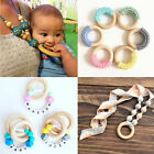 5pcs 55/70mm Baby Wooden Teething Rings Necklace Bracelet DIY Crafts Natural