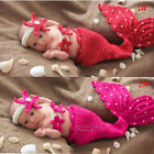 Newborn Baby Girls Boys Mermaid Knit Costume Photo Photography Prop Outfits