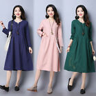 Pop Maternity Dress Embroidery Long Sleeve Dresses Lady Pure Color Loose Clothes