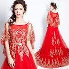 Red Beads Lace Cape Sleeve Long Eveing Dress Ladies Formal Luxurious Prom Gown