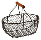 Oval Wire Metal Egg Baskets Vintage Storage Rustic Brown Chic Trugs Wood Handle