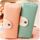 High capacity PU Leather Blue Pink pencil case Cosmetic Organizer Storage Bag