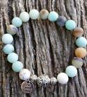 frosted amazonite crystal gemstone live laugh love charka  handmade bracelet