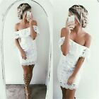 Summer Womens Dress Off Shoulder Lace Dress Casual Hollow Out Floral Dresses