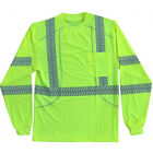 (3 Pair) Class 3 Hi-Viz Lime Comfort Stretch Work Shirts Reflective Long Sleeve