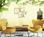 3D Leaves, bird cage 3234 Wall Paper Print Wall Decal Deco Indoor Wall Murals