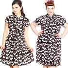 Hell Bunny Aggy Scottie Dog Dress Black Rockabilly Pin Up Retro Vintage 50s