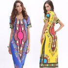 Women's African Traditional Short Sleeve Floral Dashiki Ethnic Party Club Dress