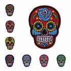 "SUGAR SKULL ROSE DAY OF THE DEAD 2 3/4"" x 2 1/8"" iron on patch CHOICE OF COLOR"
