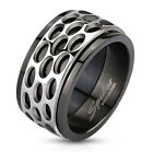 316L Stainless Steel Black Oval Pattern Spinner Band Ring Size 9-13 M2804