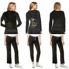 NWT Juicy Couture Velour Tracksuit Women Black Embellished Jacket  xs s m l xl