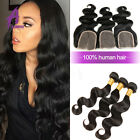 Peruvian Human Hair Weave Body Wave with Lace closure 3 Bundles US STOCK