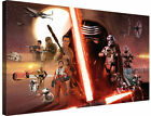 """Star Wars The Force Awakens Cast 30x20"""" Canvas Wall Art Picture Print Framed"""
