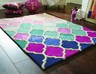Rosella Dolce Pink Blue Geometric Hand Carved Wool Rug in various sizes