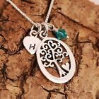 Sterling Silver Personalised Tree Of Life & Heart Charms Necklace & Birthstone