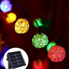 30 LED Solar Powered Rattan Ball String Indoor or Outdoor Lights